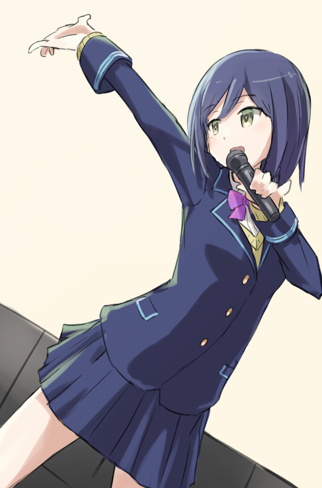1girl blazer blue_hair cardigan chikuwa_(majihima) holding holding_microphone jacket karaoke microphone music nijisanji outstretched_arm pinky_out pleated_skirt school_uniform shizuka_rin short_hair singing skirt virtual_youtuber yellow_eyes