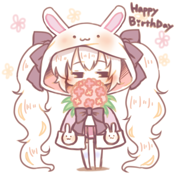 1girl animal_ears animal_hood azur_lane bangs blush bouquet bow brown_eyes bunny_hood chibi covered_mouth eyebrows_visible_through_hair flower hair_between_eyes hair_bow half-closed_eyes happy_birthday heart hood hood_up jacket laffey_(azur_lane) long_hair looking_at_viewer no_shoes pink_jacket pleated_skirt purple_bow rabbit_ears red_flower red_skirt sakurato_ototo_shizuku shadow sidelocks skirt solo standing thigh-highs twintails very_long_hair white_background white_hair white_legwear