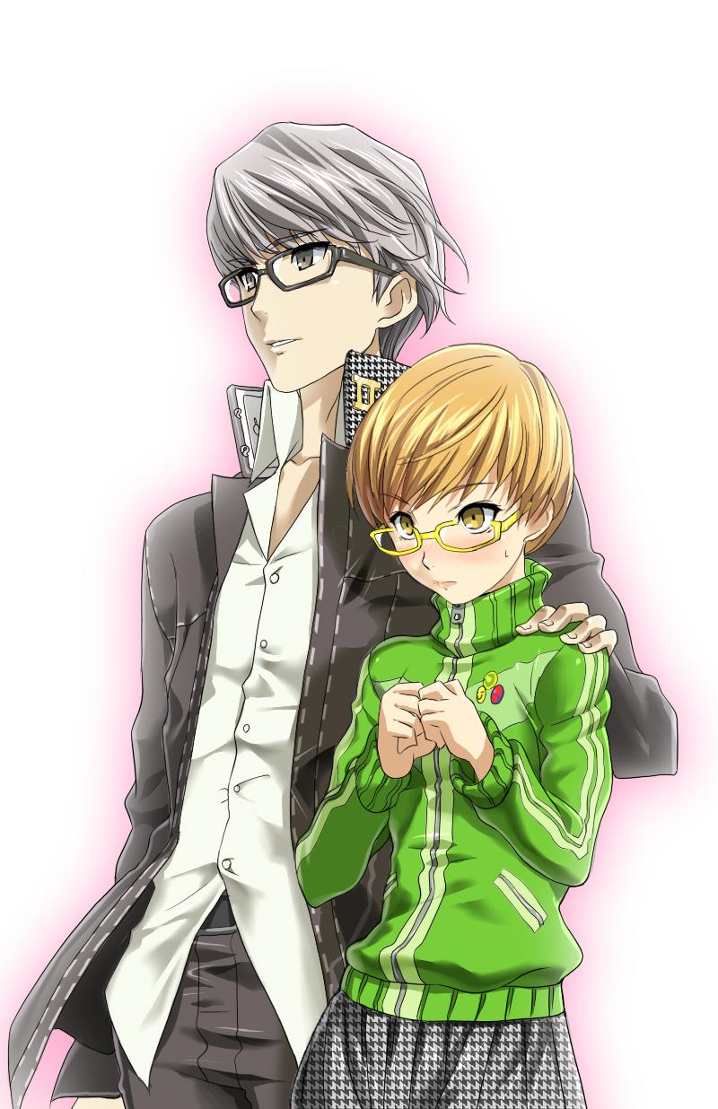 g-tetsu gakuran glasses highres narukami_yuu persona persona_4 protagonist_(persona_4) satonaka_chie school_uniform seta_souji short_hair yellow-framed_glasses