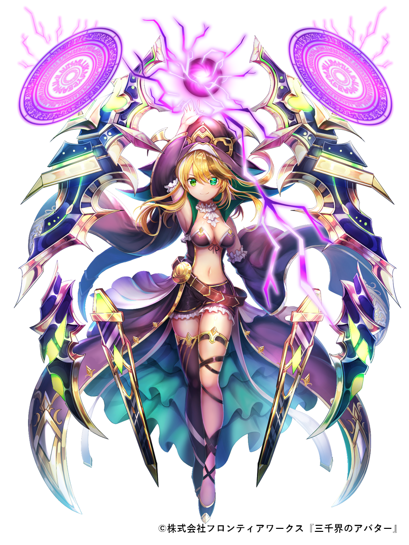 1girl arm_up asymmetrical_legwear black_legwear blonde_hair blush breasts cape detached_sleeves full_body green_eyes hat looking_at_viewer magic magic_circle medium_breasts midriff navel official_art purple_cape rudia sanzenkai_no_avatar short_shorts shorts smile solo standing thigh-highs white_background white_neckwear wide_sleeves