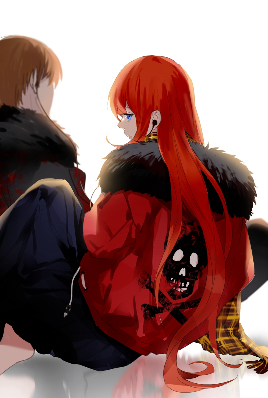 alternate_costume blue_eyes brown_hair contemporary earphones earphones fur_collar gintama highres jacket kagura_(gintama) loli_bushi long_hair looking_at_viewer looking_back okita_sougo orange_hair reflective_floor scarf shared_earphones short_hair simple_background sitting skull_and_crossbones solo_focus white_background
