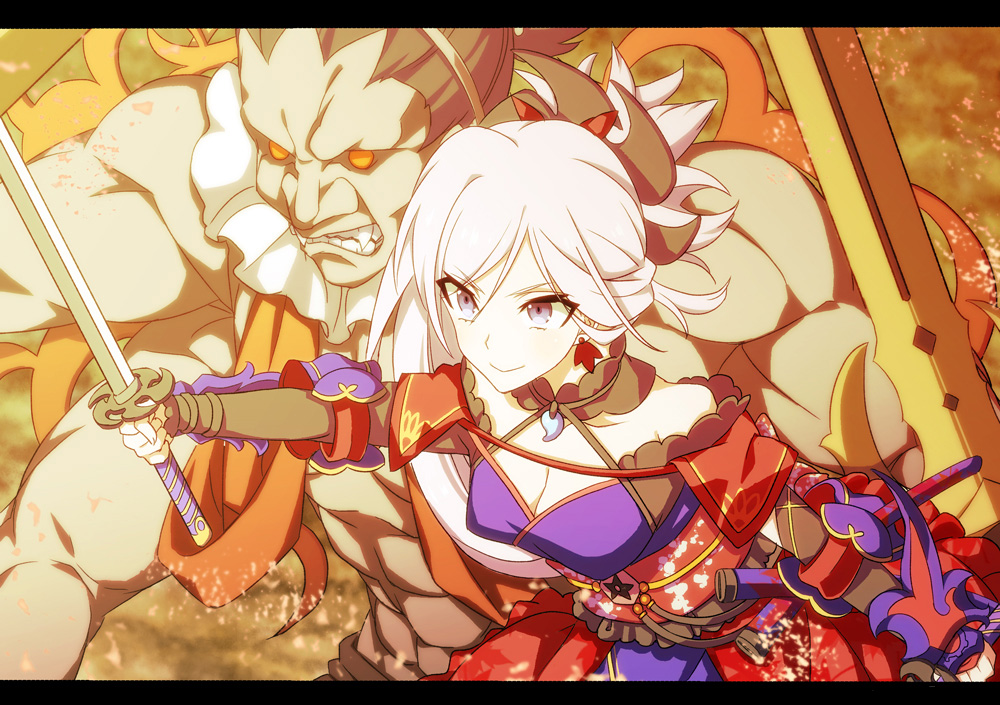 1girl blue_eyes breasts cleavage fate/grand_order fate_(series) holding holding_sword holding_weapon katana miyamoto_musashi_(fate/grand_order) ponytail sajiwa_(namisippo) smile sword weapon white_background white_hair
