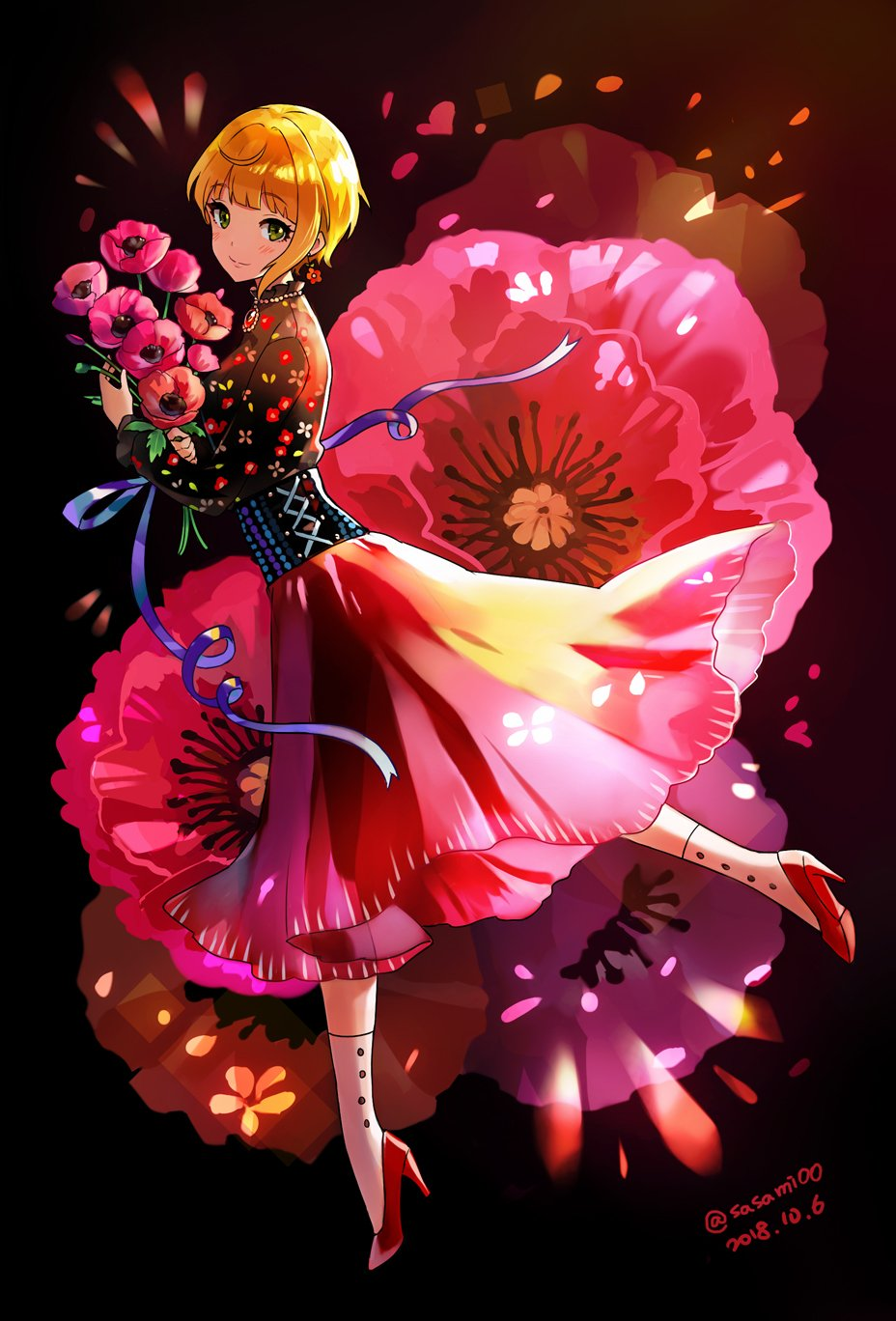 1girl asymmetrical_hair black_background black_blouse blonde_hair blouse blush brooch commentary corset dated earrings eyebrows_visible_through_hair floral_background floral_print flower flower_earrings full_body green_eyes high_heels highres holding holding_flower idolmaster idolmaster_cinderella_girls jewelry light_smile long_skirt long_sleeves looking_at_viewer miyamoto_frederica petals red_footwear red_skirt ribbon short_hair signature skirt solo teki_(kakari) twitter_username white_legwear
