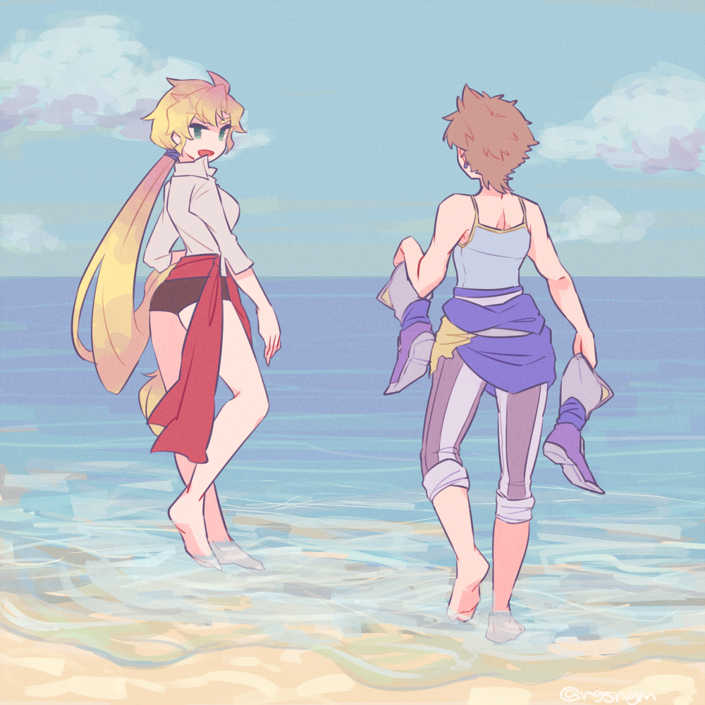 1boy 1girl ass blonde_hair breasts brown_hair butz_klauser closed_mouth commentary_request dancer faris_scherwiz final_fantasy final_fantasy_v long_hair ocean open_mouth shoes smile sunagimo_(nagimo)