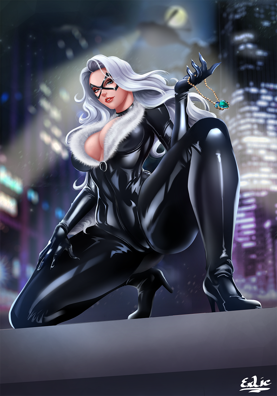 1girl aircraft artist_name black_cat_(marvel) blue_eyes bodysuit breasts city_lights domino_mask exlic felicia_hardy fur_trim helicopter high_heels highres jewelry kneeling large_breasts lipstick long_hair makeup marvel mask necklace night outdoors skin_tight solo spider-man_(series) white_hair