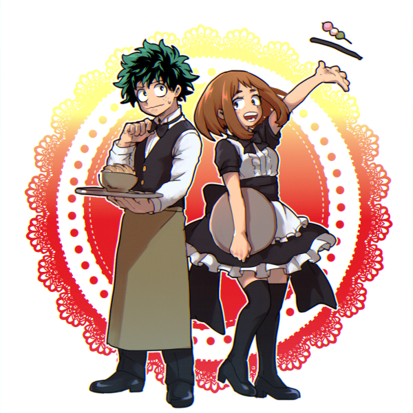 1boy 1girl :d alternate_costume apron black_bow black_footwear black_legwear black_neckwear black_pants black_vest blush_stickers boku_no_hero_academia bow bowl bowtie brown_eyes brown_hair dango floating food freckles green_eyes green_hair hk_(nt) holding holding_tray large_bow maid maid_apron messy_hair midoriya_izuku open_mouth pants shirt short_hair smile sweatdrop thigh-highs tray uraraka_ochako vest wagashi waist_apron wavy_mouth white_shirt