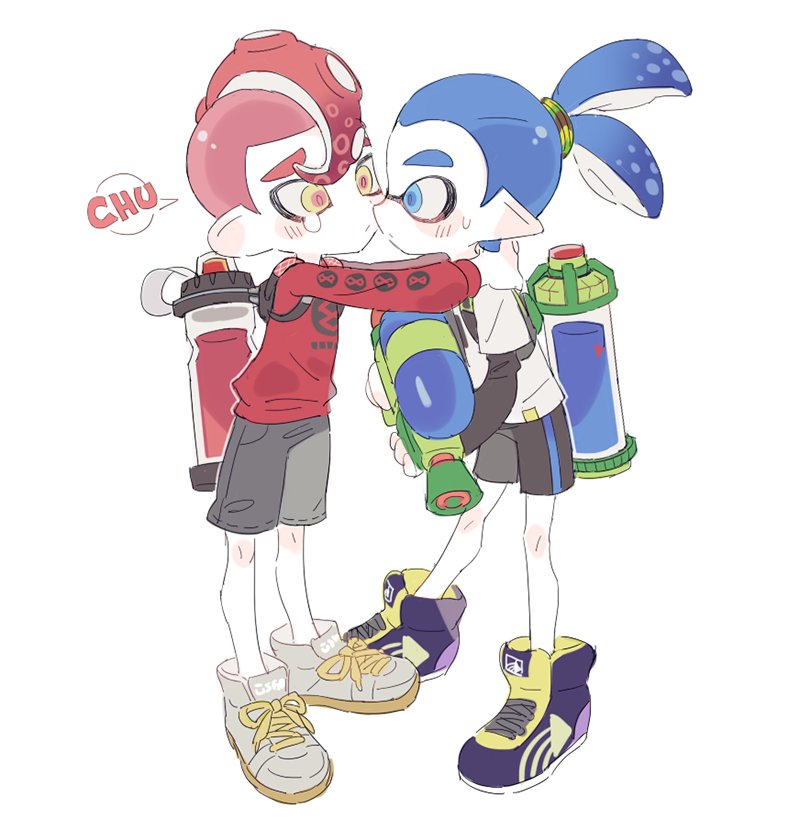 2boys agent_8 blue_eyes blue_hair blush_stickers cheek_kiss closed_mouth hug inkling kiss long_sleeves male_focus mohawk multiple_boys nintendo noii octoling redhead shoes shorts simple_background sneakers splatoon splatoon_2 super_smash_bros. super_smash_bros._ultimate tearing_up tentacle_hair thick_eyebrows yaoi yellow_eyes