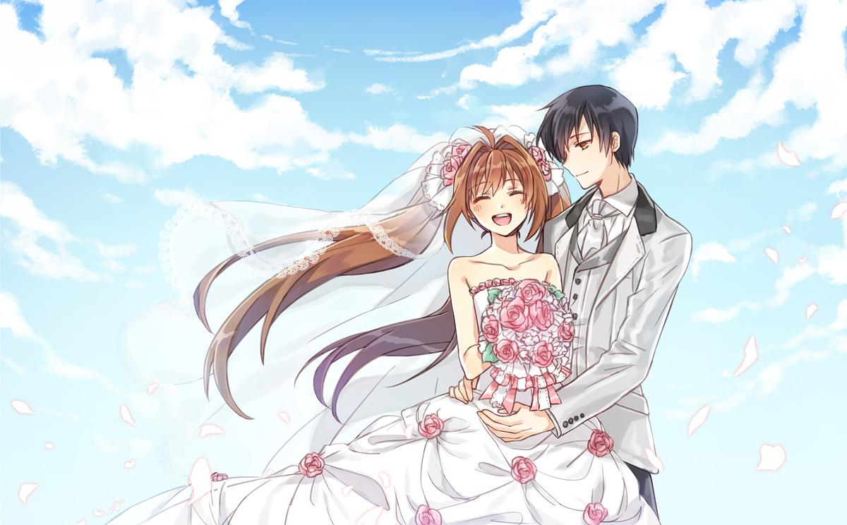 1boy 1girl ahoge alternate_costume bare_shoulders black_hair blush bouquet bridal_veil brown_eyes brown_hair closed_eyes clouds cloudy_sky collarbone couple cowboy_shot dress eiyuu_densetsu elemental estelle_bright flower formal hair_flower hair_ornament hetero joshua_astray long_hair long_sleeves looking_at_viewer neckerchief open_mouth petals short_hair sky smile sora_no_kiseki suit twintails veil wedding_dress white_dress