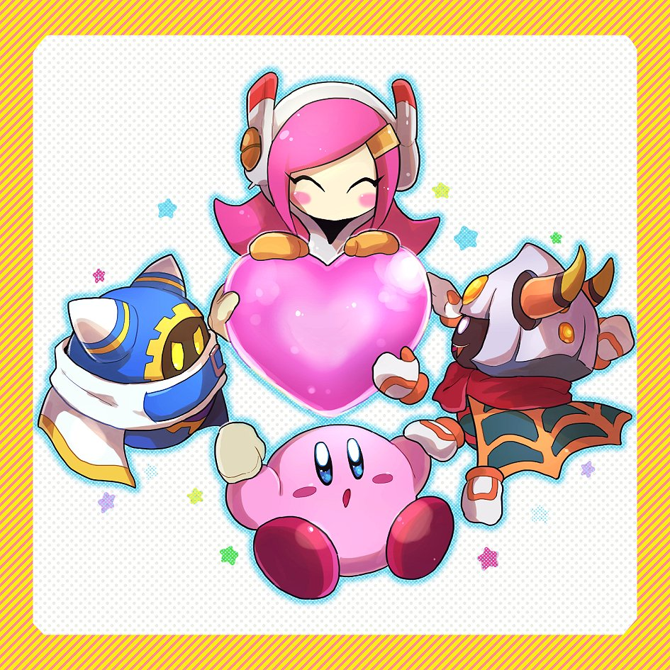 1girl 3boys chiimako closed_eyes hal_laboratory_inc. hoshi_no_kirby hoshi_no_kirby_wii kirby kirby's_return_to_dream_land kirby:_planet_robobot kirby:_star_allies kirby_(series) kirby_triple_deluxe magolor multiple_boys nintendo no_mouth pink_hair susie_(kirby) taranza