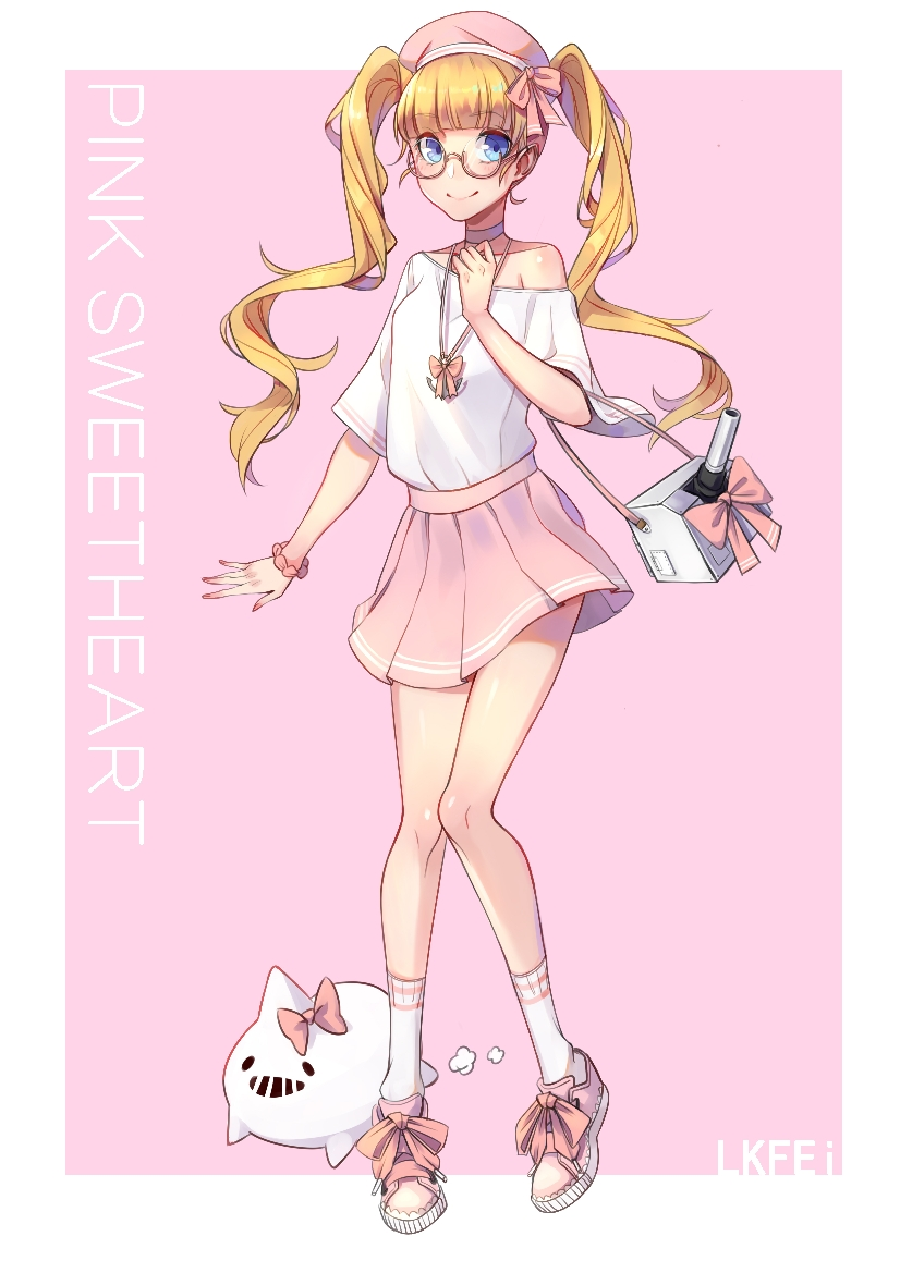 1girl anchor_necklace andrea_doria_(zhan_jian_shao_nyu) animal_request artist_name bag beret bespectacled blonde_hair blue_eyes bow bracelet choker english fei_(1042471593) fingernails glasses hand_on_own_chest handbag hat horn_bow jewelry long_hair looking_at_viewer nail_polish off-shoulder_shirt pink_background pink_bow pink_nails pink_skirt scrunchie semi-rimless_eyewear shirt shoe_bow shoes simple_background skirt sneakers socks solo turret twintails under-rim_eyewear very_long_hair zhan_jian_shao_nyu