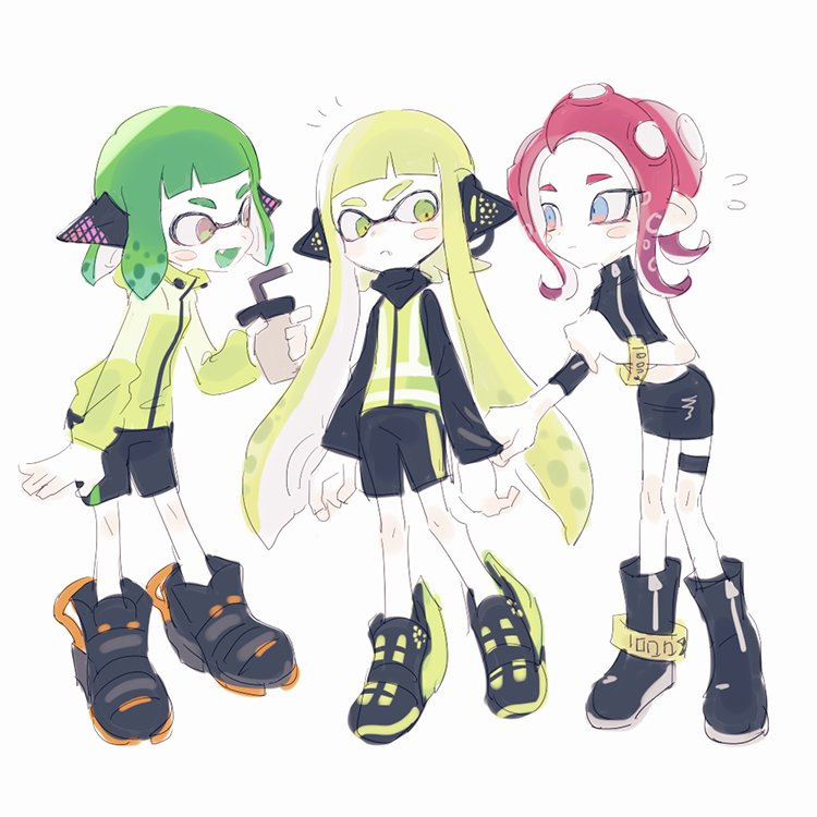 3girls agent_8 anklet blonde_hair boots bracelet dark_skin green_hair headgear inkling jewelry multiple_girls nintendo noii octarian octoling pointy_ears redhead shoes simple_background skirt sneakers splatoon splatoon_2 splatoon_2:_octo_expansion squidbeak_splatoon tentacle_hair white_background yellow_coat