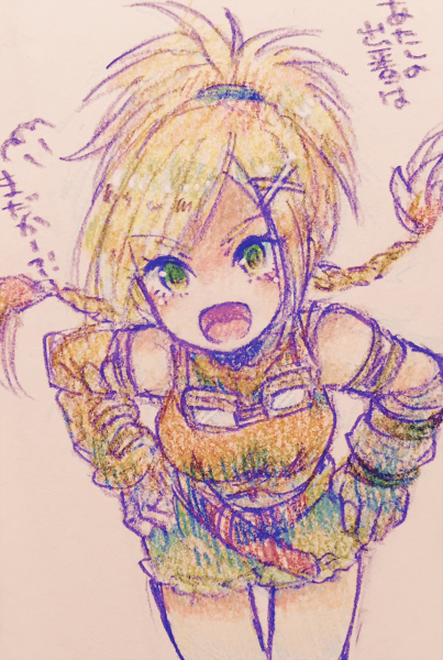 1girl al_bhed_eyes blonde_hair braid breasts commentary_request final_fantasy final_fantasy_x fingerless_gloves gloves goggles green_eyes hair_ornament hairclip open_mouth rikku short_shorts shorts smile solo sunagimo_(nagimo) x_hair_ornament