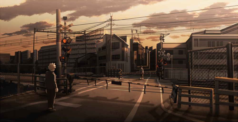 2boys bakugou_katsuki boku_no_hero_academia city clouds evening hood hoodie maneki-neko_(fujifuji) midoriya_izuku multiple_boys outdoors railroad_crossing railroad_signal railroad_tracks road scenery standing street