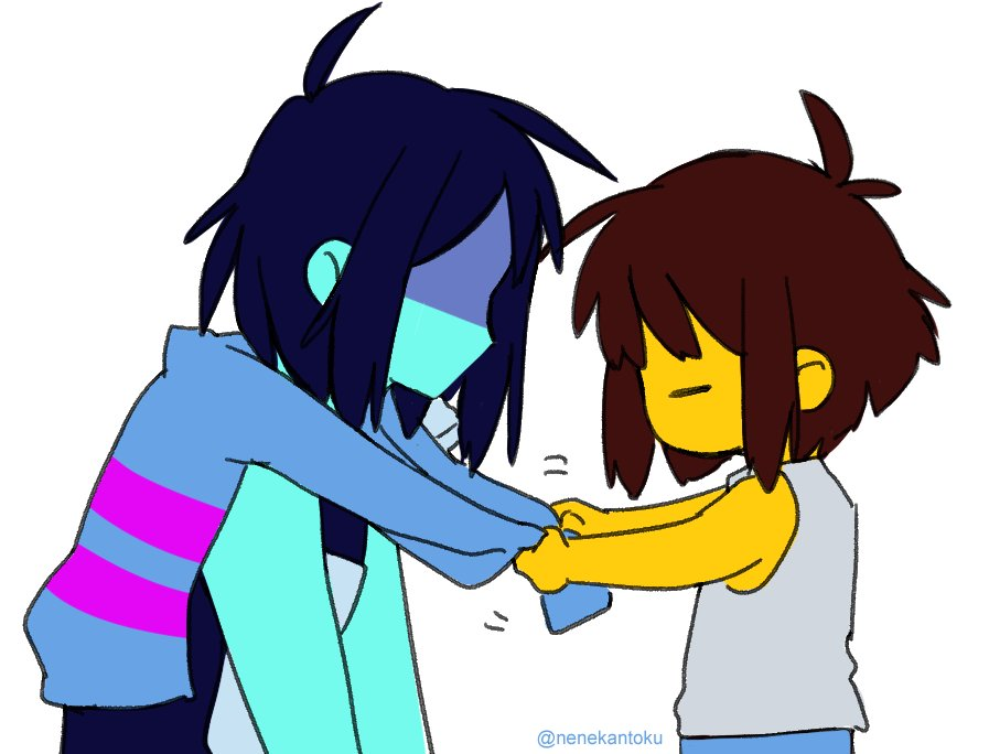 2others =_= armor blue_hair blue_skin brown_hair deltarune frisk_(undertale) kris_(deltarune) long_sleeves messy_hair multiple_others nenekantoku shaded_face shirt simple_background striped striped_shirt tying undershirt undertale upper_body white_background yellow_skin