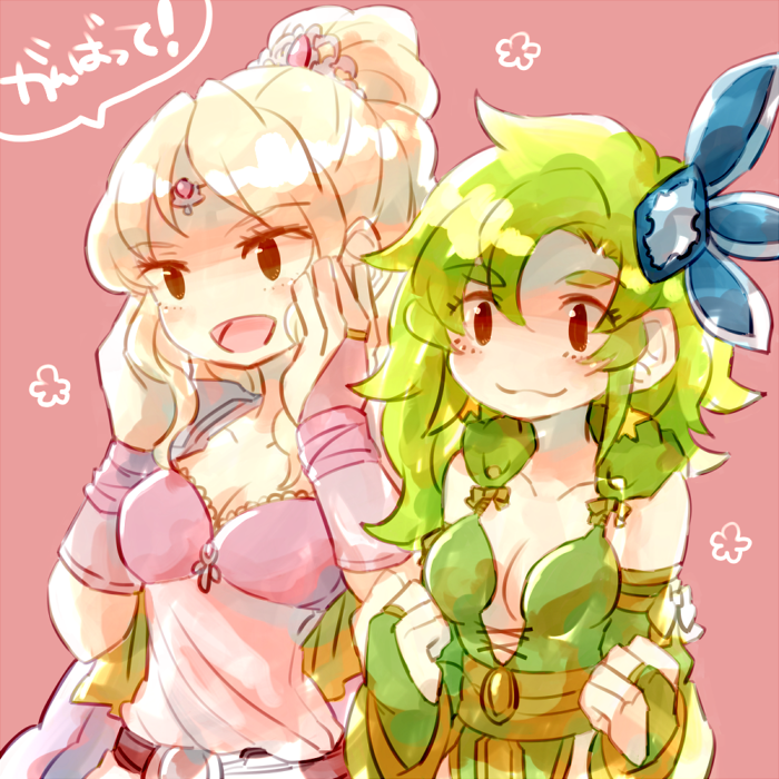 blonde_hair blush breasts cleavage commentary_request earrings final_fantasy final_fantasy_iv green_hair hair_ornament jewelry long_hair multiple_girls ponytail rosa_farrell rydia smile sunagimo_(nagimo)
