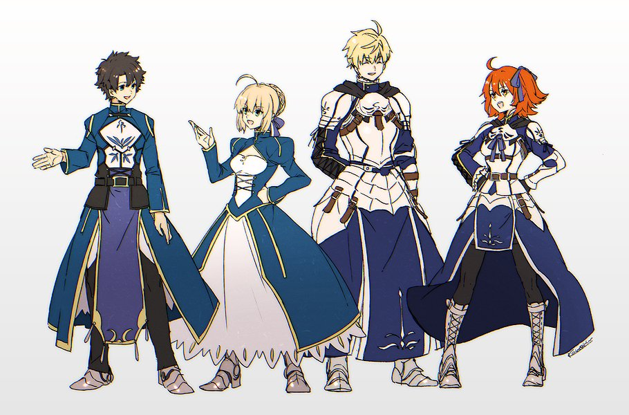 2boys 2girls adapted_costume armored_boots arthur_pendragon_(fate) arthur_pendragon_(fate)_(cosplay) artoria_pendragon_(all) belt black_hair blonde_hair boots cosplay fate/grand_order fate/prototype fate/stay_night fate_(series) fujimaru_ritsuka_(female) fujimaru_ritsuka_(male) full_body gradient gradient_background grey_background kaworu_(kaw_lov) looking_at_another multiple_boys multiple_girls one_side_up orange_hair pants pelvic_curtain saber saber_(cosplay) simple_background
