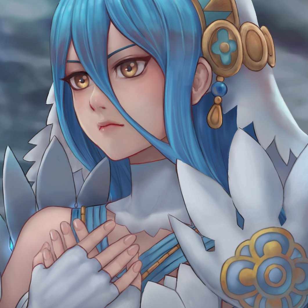 1girl aqua_(fire_emblem_if) blue_hair dancer dress elbow_gloves fire_emblem fire_emblem_if gloves hair_between_eyes hairband jewelry kaejunni long_hair nintendo simple_background smile solo veil yellow_eyes