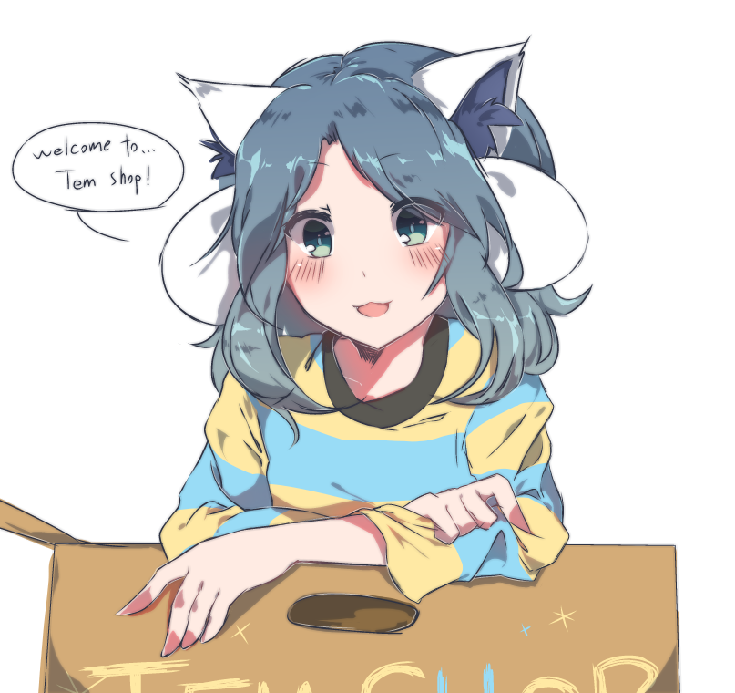 1girl :3 animal_ears bangs blush box caramell0501 cardboard_box cat_ears dog_ears english green_eyes grey_hair leaning_forward looking_at_viewer open_mouth personification shirt shop sidelocks simple_background solo striped striped_shirt temmie undertale white_background