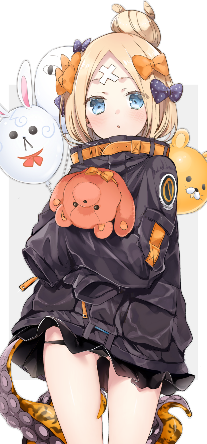1girl abigail_williams_(fate/grand_order) alternate_hairstyle balloon bandaid_on_forehead bangs belt black_bow black_jacket black_panties blonde_hair blue_eyes bow crossed_bandaids fate/grand_order fate_(series) forehead fou_(fate/grand_order) hair_bow hair_bun heroic_spirit_traveling_outfit highres holding holding_stuffed_animal jacket long_hair medjed open_mouth orange_bow panties parted_bangs polka_dot polka_dot_bow sino_(sionori) sleeves_past_fingers sleeves_past_wrists stuffed_animal stuffed_toy teddy_bear tentacle thighs underwear white_background