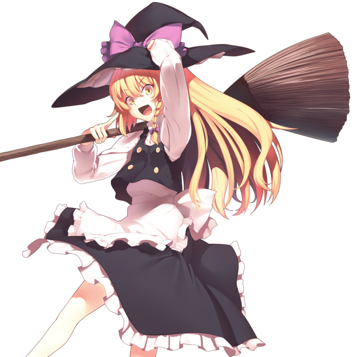 1girl :d apron arm_up bangs black_hat black_skirt black_vest blonde_hair bow braid broom commentary_request eyebrows_visible_through_hair feet_out_of_frame frilled_apron frills hair_between_eyes hair_bow hat hat_bow holding holding_broom kaiza_(rider000) kirisame_marisa long_hair long_sleeves looking_at_viewer open_mouth petticoat pointing pointing_at_self purple_bow shirt simple_background single_braid skirt skirt_set smile solo touhou vest waist_apron white_apron white_background white_shirt yellow_eyes