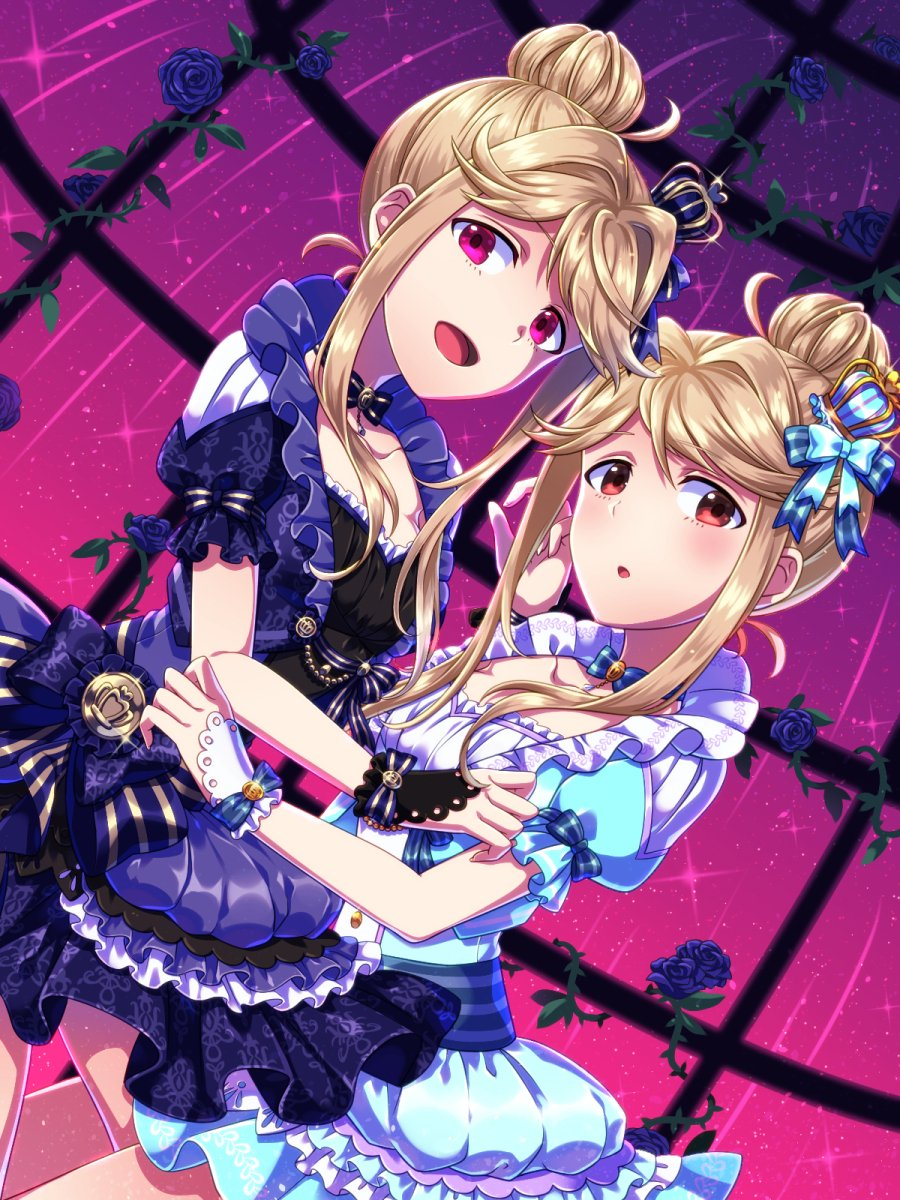2girls blue_dress blue_flower blush brown_eyes brown_hair choker commentary dress dual_persona flower hair_bun highres idolmaster idolmaster_million_live! looking_at_viewer multiple_girls nejimo open_mouth parted_lips puffy_short_sleeves puffy_sleeves red_eyes short_sleeves smile tenkuubashi_tomoka thighs