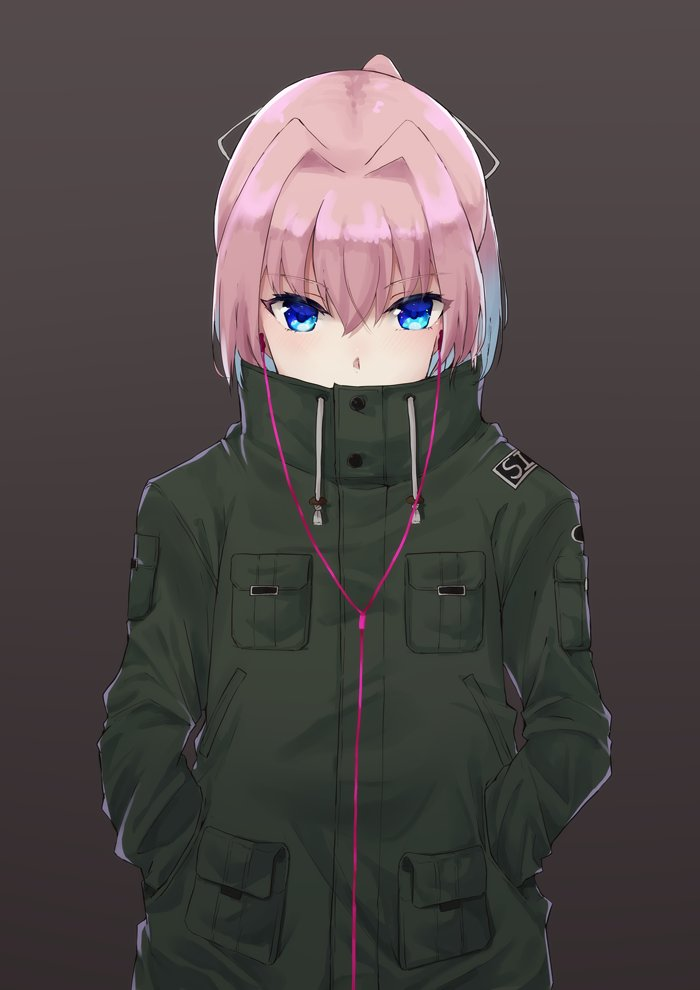 blue_eyes breast_pocket buttons commentary covered_mouth earphones eyebrows_visible_through_hair green_jacket hair_between_eyes hair_intakes hair_ribbon hands_in_pockets jacket kantai_collection long_sleeves looking_at_viewer pink_hair pocket ribbon shiranui_(kantai_collection) short_hair simple_background u_yuz_xx