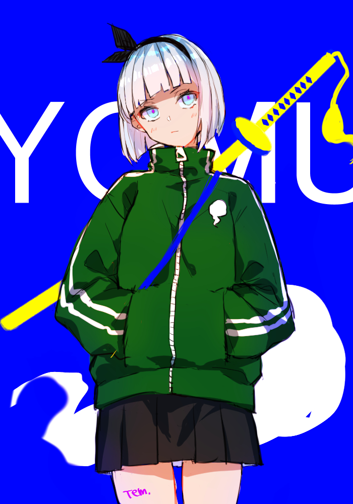 1girl alternate_costume blue_background blue_eyes expressionless eyebrows_visible_through_hair ghost hairband jacket katana konpaku_youmu konpaku_youmu_(ghost) looking_at_viewer short_hair silver_hair skirt solo sword temu_(tem27) touhou track_jacket weapon