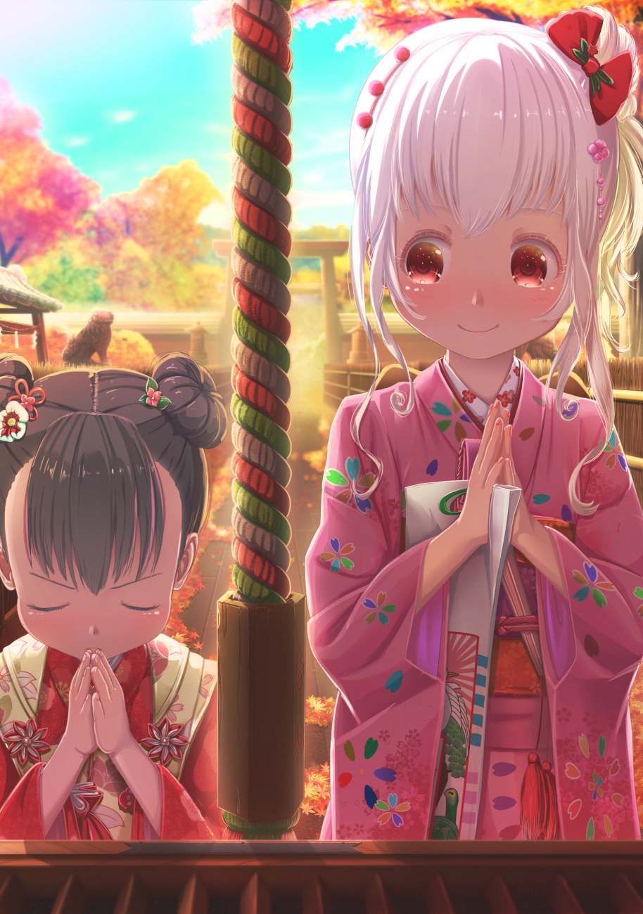 2girls abo_(kawatasyunnnosukesabu) ainu autumn autumn_leaves bangs black_hair blush bow box closed_eyes commentary_request donation_box double_bun flower flower_knot hair_bow hair_flower hair_ornament hands_together highres holding japanese_clothes kimono multiple_girls obi original pink_kimono praying red_bow red_eyes rope sash shichi-go-san shrine side_bun side_ponytail sidelocks smile torii upper_body v-shaped_eyebrows white_hair