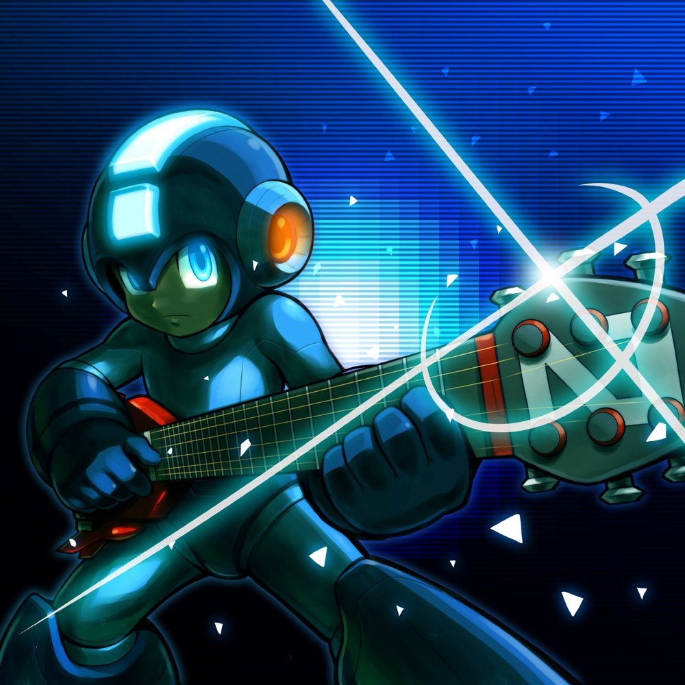 1boy android blue_eyes capcom glint glowing glowing_eyes gradient gradient_background guitar helmet hi-go! holding holding_instrument instrument male_focus rockman rockman_(character) rockman_(classic) solo