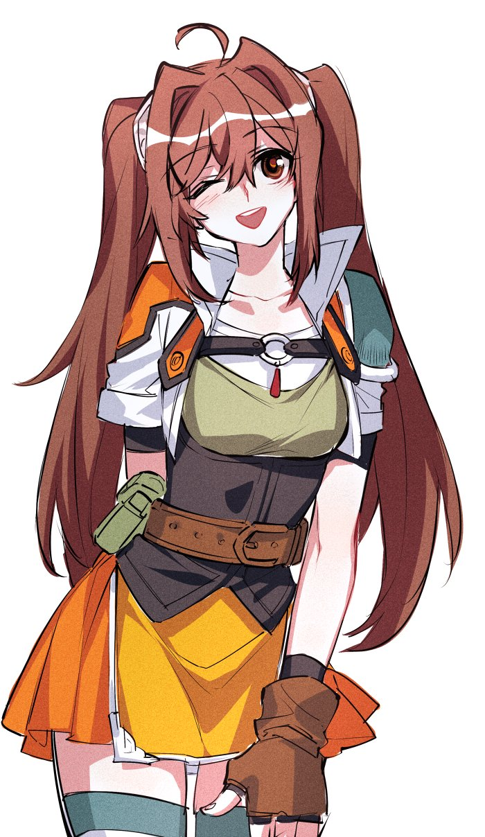 1girl ahoge belt belt_pouch blue_legwear breasts brown_eyes brown_gloves brown_hair collarbone cowboy_shot eiyuu_densetsu estelle_bright fingerless_gloves gloves highres jacket jewelry leather leather_gloves long_hair miniskirt one_eye_closed open_mouth pendant pouch shirt short_sleeves shoulder_armor simple_background skirt small_breasts smile solo sora_no_kiseki standing thigh-highs towtow_redoland twintails white_background zettai_ryouiki
