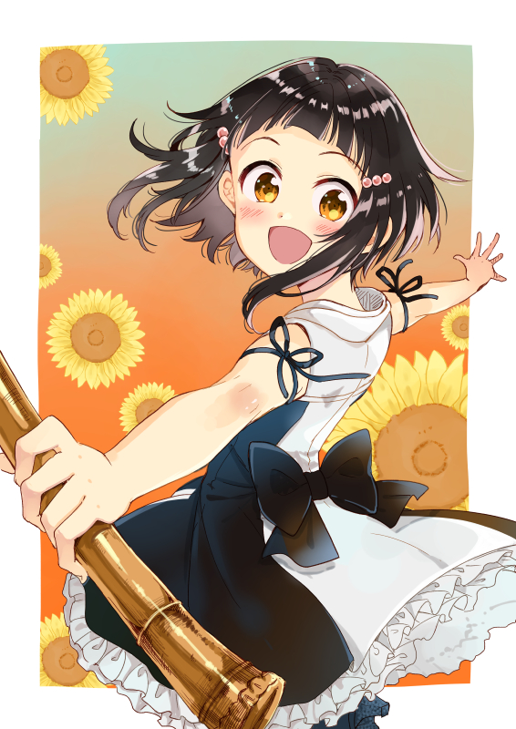 1girl :d bare_arms bare_shoulders black_dress black_hair black_ribbon blush brown_eyes dress flower head_tilt holding holding_instrument instrument looking_at_viewer looking_to_the_side miyabi_akino nadeshiko_doremisora open_mouth outstretched_arms ribbon shakuhachi sleeveless sleeveless_dress smile solo spread_arms takemi_hiyo yellow_flower