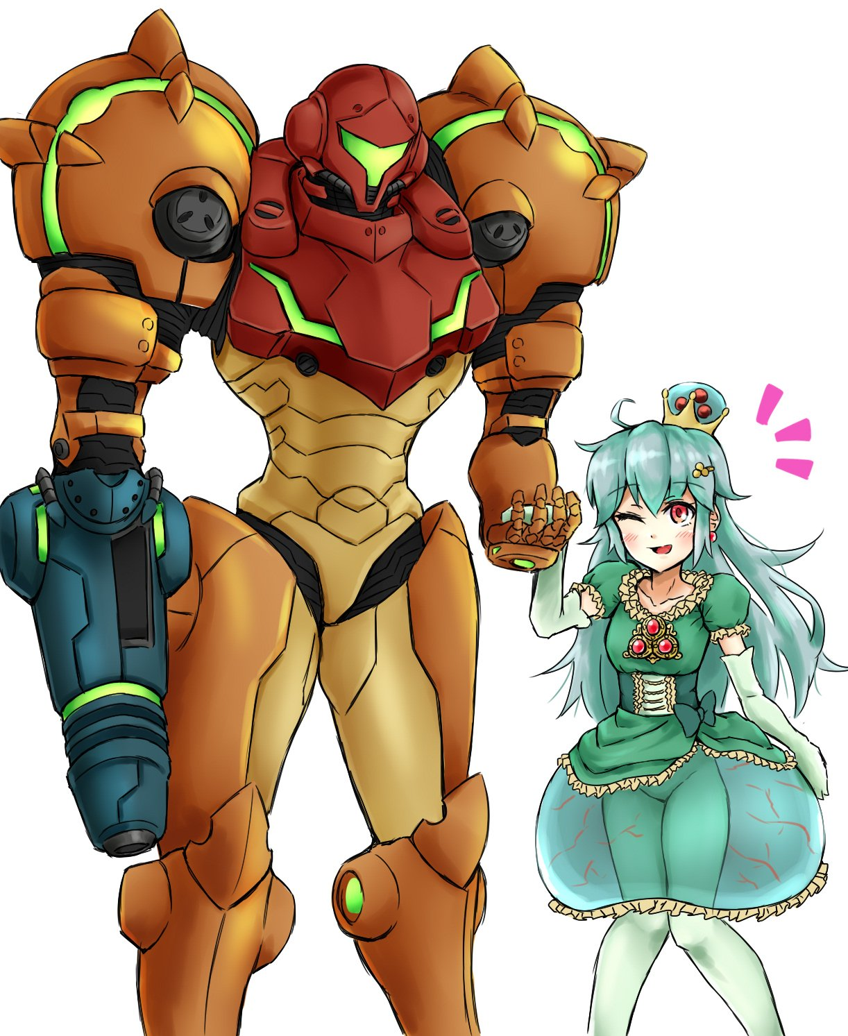 2girls arm_cannon blush bodysuit crown dress green_hair hand_holding highres long_hair mario_(series) metroid metroid_(creature) metroid_prime mother_and_daughter multiple_girls new_super_mario_bros._u_deluxe nintendo one_eye_closed power_armor power_suit red_eyes samus_aran super_crown varia_suit wakaba_(wata_ridley) weapon