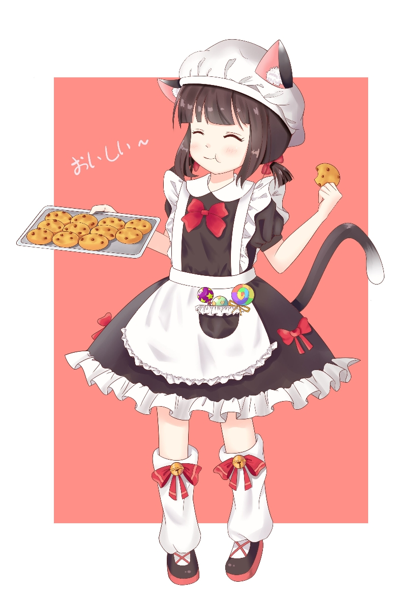 1girl :t animal_ear_fluff animal_ears apron azur_lane ban_ge_juzi bangs bell black_dress black_footwear blush bow brown_background brown_hair candy cat_ears cat_girl cat_tail chocolate_chip_cookie closed_eyes closed_mouth commentary_request dress ears_through_headwear eating facing_viewer food frilled_apron frills full_body hair_bow hat holding holding_cookie holding_food jingle_bell kneehighs lollipop loose_socks low_twintails mutsuki_(azur_lane) puffy_short_sleeves puffy_sleeves red_bow shoes short_sleeves short_twintails solo standing swirl_lollipop tail tail_raised translated twintails two-tone_background white_apron white_background white_hat white_legwear