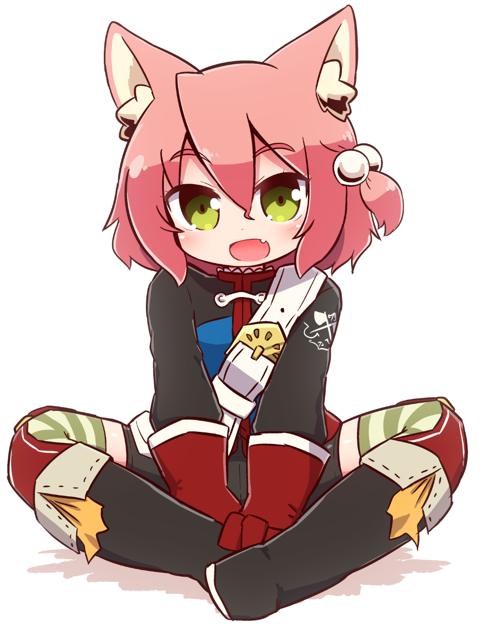 1girl 7th_dragon 7th_dragon_(series) :d animal_ear_fluff animal_ears belt belt_buckle black_footwear blue_jacket blush boots buckle cat_ears chibi commentary_request eyebrows_visible_through_hair fang full_body gloves green_eyes hair_bobbles hair_ornament harukara_(7th_dragon) head_tilt highres jacket knee_boots long_sleeves looking_at_viewer naga_u one_side_up open_mouth pink_hair red_gloves shadow sitting smile solo striped striped_legwear thigh-highs thighhighs_under_boots white_background white_belt