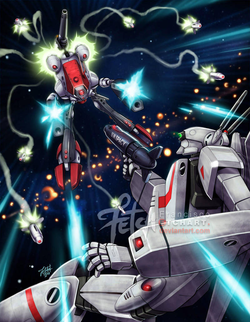 aiming alien arm_cannon battle choujikuu_yousai_macross commentary energy energy_cannon energy_orb english_commentary explosion firing franciscoetchart glaug glowing glowing_eye gunpod ichijou_hikaru itano_circus macross mecha missile quamzin_kravshera robotech science_fiction signature space thrusters vf-1 vf-1j walker watermark weapon zentradi