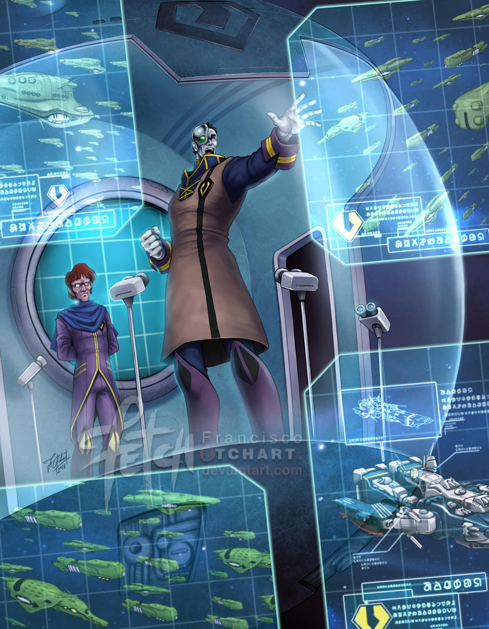 alien angry breetai choujikuu_yousai_macross cyborg emblem exsedol_folmo faceplate fleet franciscoetchart giant highres holographic_interface holographic_monitor insignia macross mecha military military_uniform nupetiet-vergnitzs officer picket_patrol_ship queadol-magdomilla quiltra-queleual robotech sdf-1 shouting spacecraft_interior thurvel-salan uniform zentlardy_alphabet zentradi