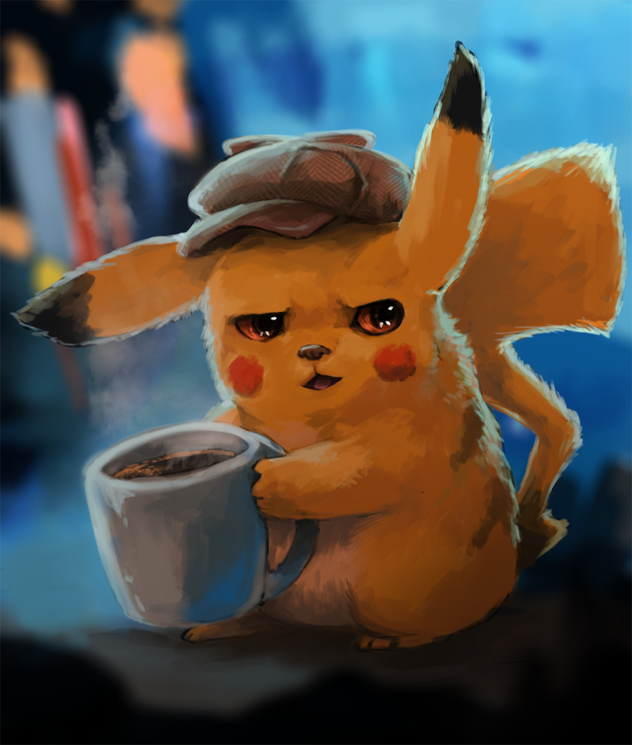 1other blush_stickers brown_eyes coffee commentary creature creatures_(company) cup detective_pikachu detective_pikachu_(movie) english_commentary foxeaf full_body game_freak gen_1_pokemon hat holding holding_cup mouse mug nintendo no_humans open_mouth pikachu pokemon pokemon_(creature) realistic solo warner_bros