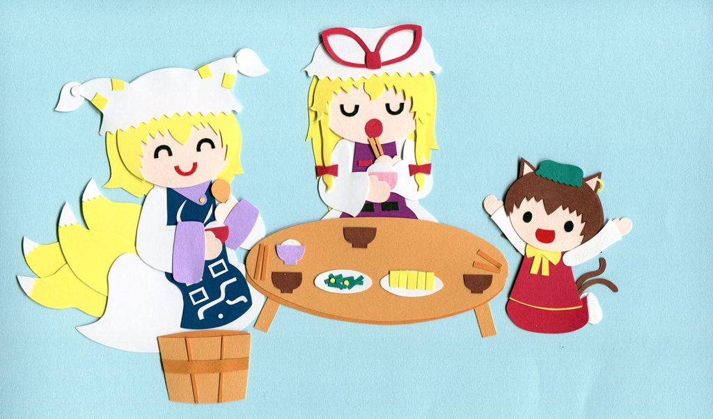 3girls animal_ears aqua_background bangs blonde_hair brown_hair bucket cat_ears cat_tail chen chopsticks closed_eyes dress eating food fox_tail green_hat hat hat_ribbon holding holding_food long_hair long_sleeves looking_at_viewer medium_hair mob_cap multiple_girls multiple_tails open_mouth paper_(medium) pillow_hat poru_(tohopunk) red_ribbon red_vest ribbon shirt simple_background sitting smile tabard table tail touhou two_tails vest white_dress white_shirt wide_sleeves yakumo_ran yakumo_yukari