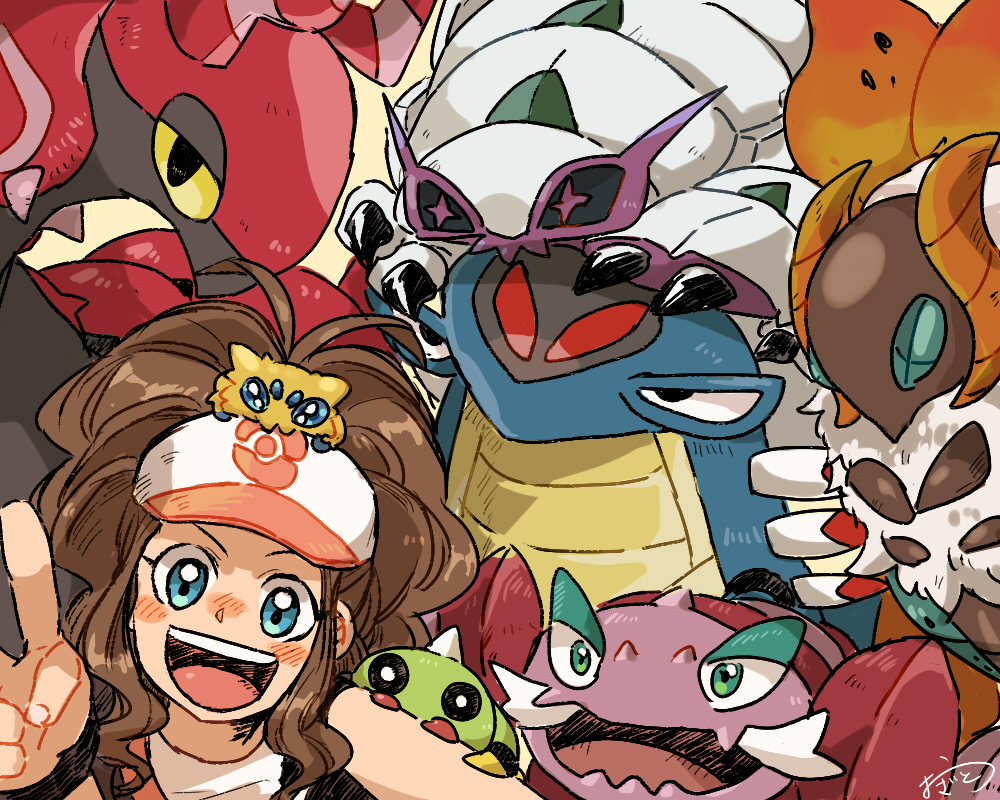 +_+ 1girl :d armaldo bag bare_arms baseball_cap black_eyes black_sclera black_vest blue_eyes blush brown_hair creatures_(company) drapion game_freak gen_2_pokemon gen_3_pokemon gen_4_pokemon gen_5_pokemon gen_7_pokemon golisopod green_eyes hand_up hat joltik long_hair looking_at_viewer nintendo open_clothes open_mouth open_vest ozato_(doituitaria) pokemon pokemon_(creature) pokemon_(game) scolipede self_shot shirt shoulder_bag sidelocks signature smile spinarak touko_(pokemon) upper_body upper_teeth v vest volcarona white_shirt wristband yellow_sclera