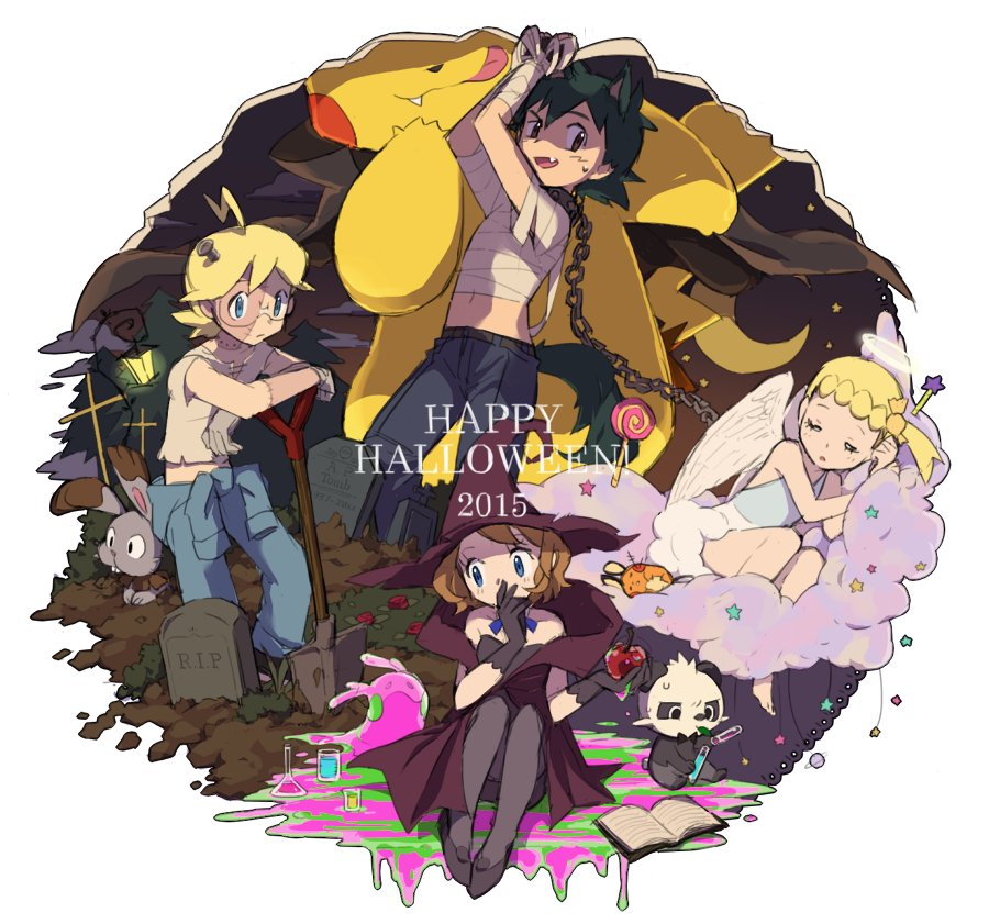 2015 2boys 2girls ame_(ame025) ash_ketchum bandages bangs blonde_hair blue_eyes bonnie_(pokemon) book brother_and_sister brown_eyes bunnelby candy chain clemont_(pokemon) clouds commentary_request dated dedenne dirt fang female food gen_1_pokemon gen_6_pokemon glasses gloves goomy green_hair halloween halloween_costume happy_halloween hat lollipop male multiple_boys multiple_girls open_mouth pancham pants pikachu pokemon pokemon_(anime) pokemon_(creature) pokemon_xy_(anime) ribbon serena_(pokemon) shirt shoes short_hair shovel siblings standing star_(symbol) stitches sweatdrop tombstone tongue vial wand witch_hat