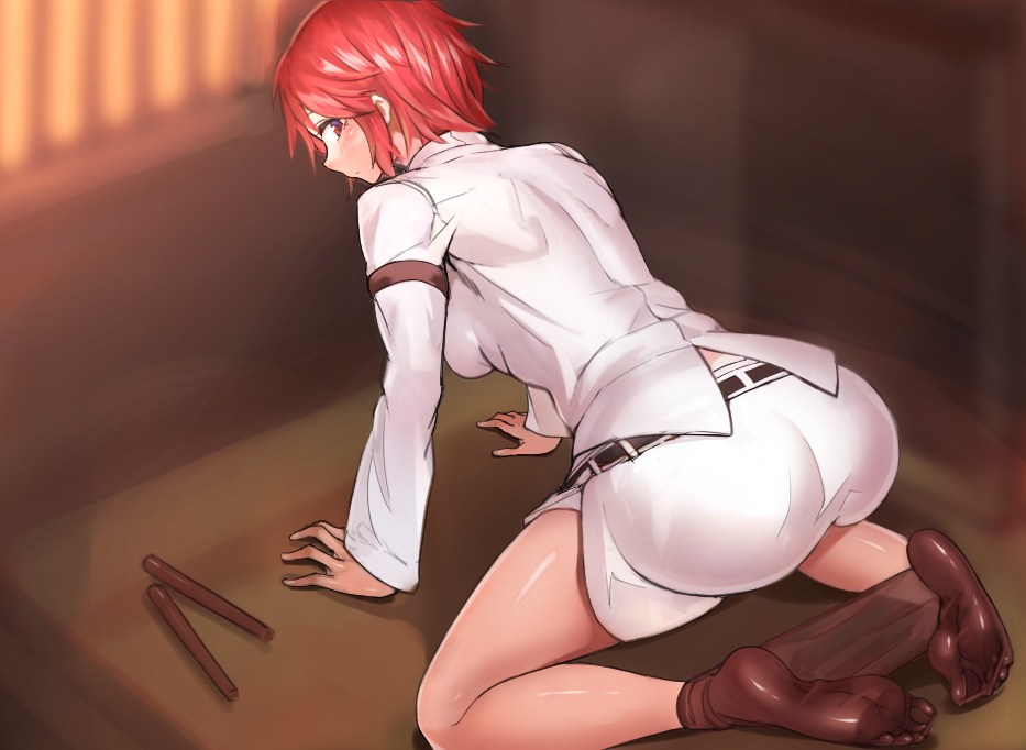1girl all_fours ass ayakumo black_legwear breasts commentary_request drumsticks feet from_behind horikawa_raiko large_breasts looking_at_viewer looking_back pantyhose pantyhose_pull red_eyes redhead short_hair soles solo thighs toes touhou