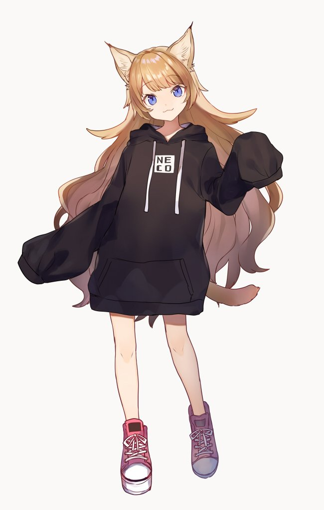 1girl :3 animal_ears bare_legs black_hoodie blue_eyes cat_ears cat_tail clothes_writing full_body hood hood_down hoodie light_brown_hair long_hair long_sleeves naked_hoodie no_pants original oversized_clothes pink_footwear pullover shoes shugao simple_background sleeves_past_wrists tail very_long_hair white_background