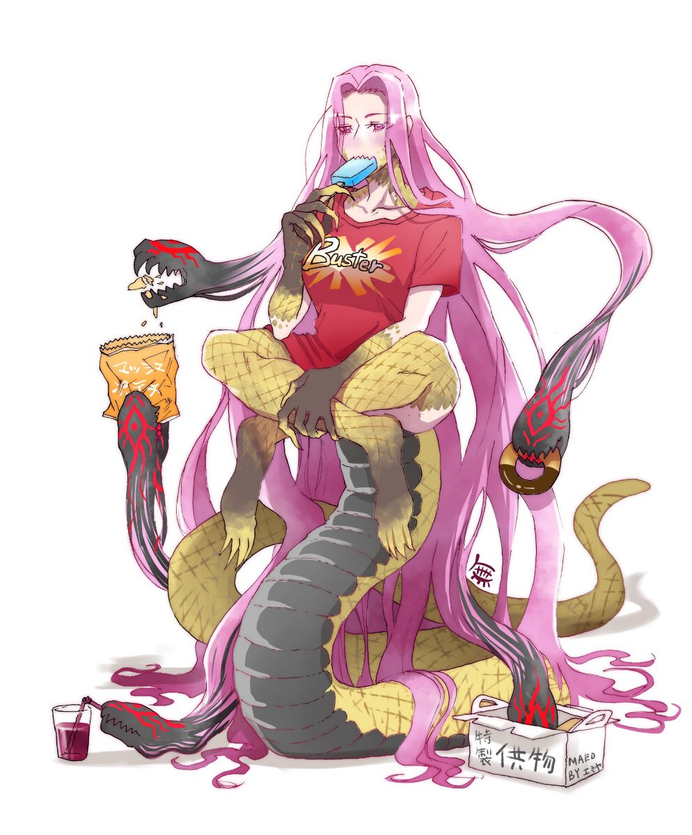 1girl alternate_costume bottomless breasts chips claws collarbone commentary doughnut drinking drinking_straw eating eyebrows_visible_through_hair eyes_visible_through_hair fate/grand_order fate_(series) food gorgon_(fate) highres large_breasts long_hair monster_girl mubo7mubo4 popsicle potato_chips purple_hair rider scales sharp_teeth shirt snake solo t-shirt tail teeth very_long_hair violet_eyes