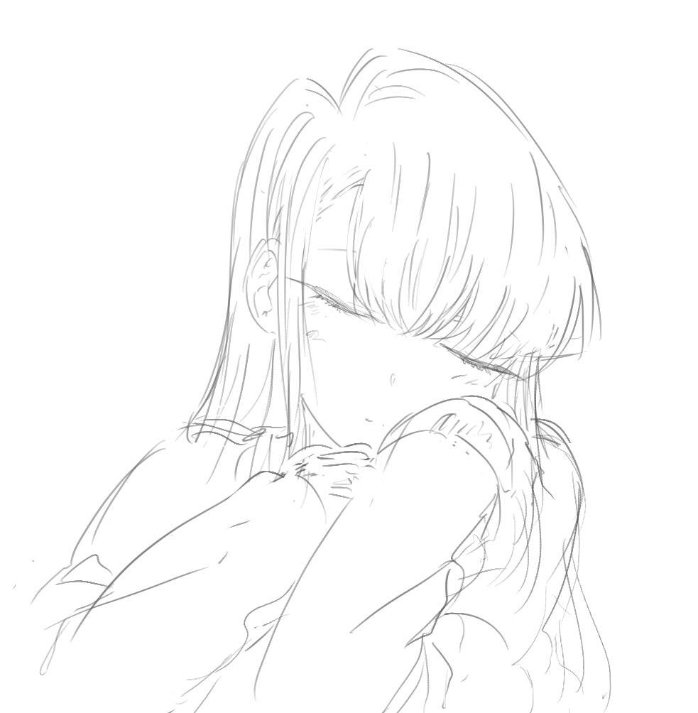 1girl black_hair komi-san_wa_komyushou_desu komi_shouko long_hair mitsugu pullover sleeping white_background
