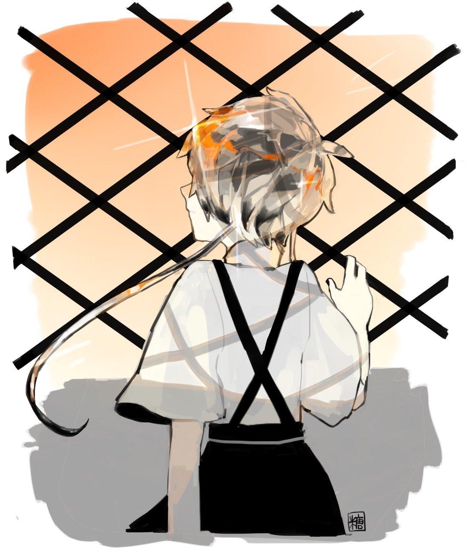 1other androgynous back crystal_hair gem ghost_quartz_(houseki_no_kuni) grey_hair hair_over_eyes highres houseki_no_kuni short_hair_with_long_locks silver_hair solo suspenders upper_body window