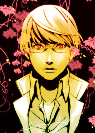 gakuran glasses male male_only narukami_yuu persona persona_4 protagonist_(persona_4) raizou red_eyes school_uniform seta_souji silver_hair
