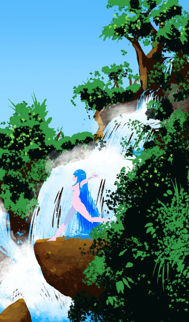 1girl akairiot arms_up bangs blue_hair blue_sky blunt_bangs breasts from_side kelda_(akairiot) leaf liquid_hair long_hair medium_breasts nature nude original outdoors outstretched_arms plant rock scenery sky solo tree very_long_hair walking water waterfall