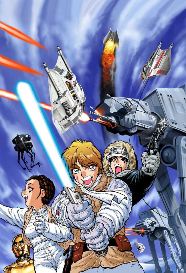 1girl 90s adam_warren aiming at-at battle belt black_eyes blonde_hair blue_eyes brown_hair c-3po cable collaboration cover damaged droid energy_beam energy_cannon energy_gun energy_sword fighting_stance fire floating flying gloves goggles han_solo hat hoth jacket jedi jedi_knight joewight lightsaber luke_skywalker mecha multiple_boys official_art princess_leia_organa_solo probe_droid promotional_art ray_gun rebel_pilot robot scarf science_fiction shiny shouting skirt snow snowspeeder space_craft star_wars star_wars_manga starfighter sword vest walker weapon