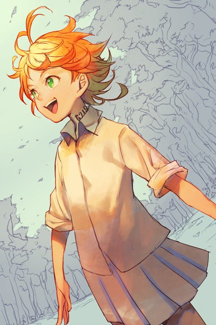 1girl ahoge collared_shirt cowboy_shot emma_(yakusoku_no_neverland) green_eyes hankuri neck_tattoo open_mouth orange_hair pleated_skirt shirt short_hair skirt sleeves_rolled_up smile solo tattoo teeth white_shirt white_skirt yakusoku_no_neverland