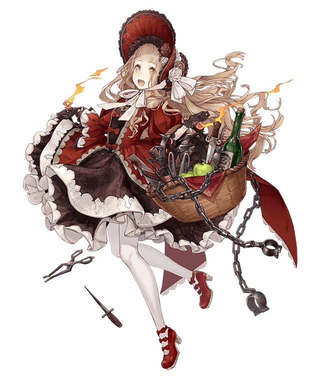 1girl :d apple basket blonde_hair bonnet bottle chains collar cuffs dagger dress flower food frills fruit full_body gloves ji_no knife little_red_riding_hood_(sinoalice) looking_at_viewer mary_janes official_art open_mouth orange_eyes pantyhose puffy_sleeves ribbon saw scissors shackles shoes sinoalice smile solo spiked_collar spikes torture_instruments transparent_background upper_teeth weapon